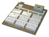 18 way contactor relay timer. The hub of an expandable environmental system. Switches up to 1kW.